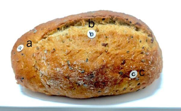 試料としてパンの3点を測定してみました