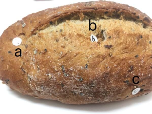試料としてパンの3点を測定してみましたが、凹んでしまいました